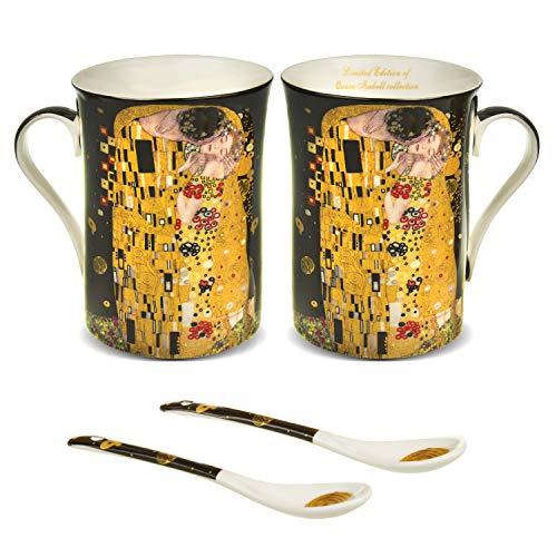Queen Isabell - Juego de 2 tazas de café grandes, 250 ml, con cuchara, diseño de El beso de Gustav Klimt, color negro, idea de regalo