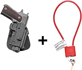 """Fobus C-21 Paddle Concealed Carry Passive Retention Holster Most Kimber 1911 Style Pistols, 4&5 inch Without Rails + Gun Lock Cable with Keys (15"""" Long) Bundle - California Approved Device"""