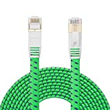 Cat 7 Ethernet Cable 15 ft.NC XQIN Nylon Braided Cat 7 Flat Internet Network LAN Patch Cable SSTP Shielded Gold Plated Ethernet Network Patch Cable .for Modem, Router, Printer, PC, PS4, IP Cameras