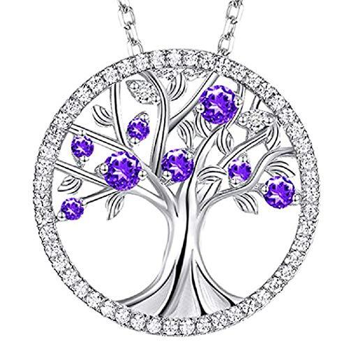 PAPAO Árbol de joyería Fina del Collar de la Vida para el Día de la Madre Día de San Valentín,Purple