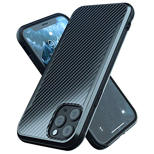Nicexx Designed for iPhone 11 Pro Max Case with Carbon Fiber Pattern, 12ft. Drop Tested, Wireless Charging Compatible - Black