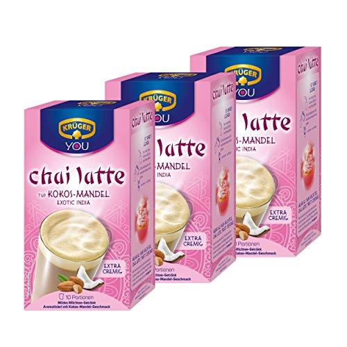 Krüger Chai Latte Exotic India, Kokos-Mandel, mildes Milchtee Getränk (3 x 10 Beutel)