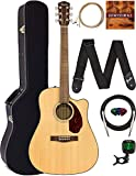 Fender CD-140SCE Dreadnought Acoustic-Electric Guitar - Natural Bundle with Hard Case, Cable, Tuner, Strap, Strings, Picks, Austin Bazaar Instructional DVD, and Polishing Cloth
