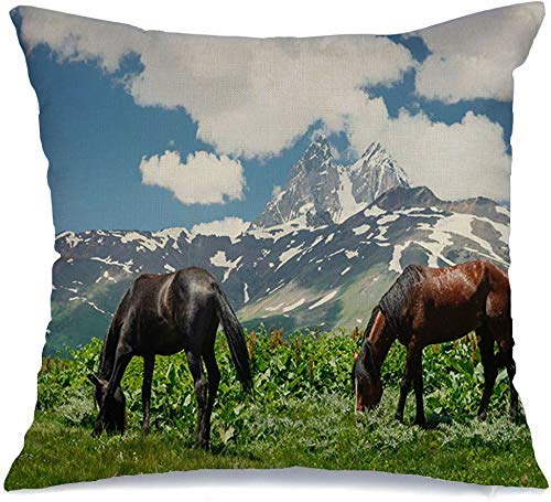 Pillow Case Horses Graze Rural Snow On Green Svan Meadow Mountains Summer Animals Field Grass Farm Wildlife in Linen Toss Comfortable Throw Cushion Cover for Car Chair Couch Bed 18 x 18 Inch