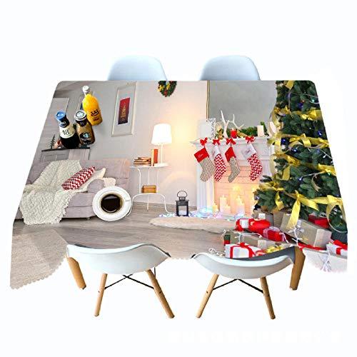 XLLJA 3D gedruckte Tischdecke Weißer Kamin Weihnachtstischdecken Persönlichkeit Hängende Tuch-W_178cm * L_178cm,Fleckschutz pflegeleicht abwaschbar schmutzabweisend Farbe