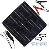 ASDZ Estrenar Panel solar 20W 12V cargador de goteo solar cargador de coche portátil de la batería solar Mantenedor de batería con encendedor de cigarrillos Plug & Pinzas cocodrilo Ajuste for el barco