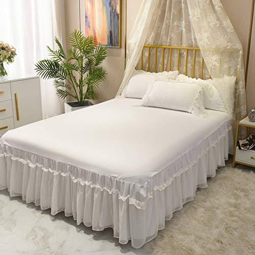 GOPG Bettrock mit Rüschen, Staubdicht Faltenresistent and Ausbleichen Elastische Bettvolant Bettschutz für Familie Hotel Schlafzimmer-E-Bett 150x200cm