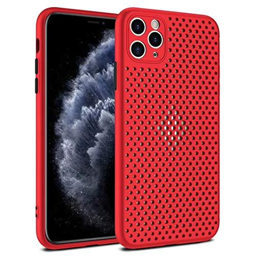 SevenPanda Für iPhone 6S Hülle Weiche Silikon TPU Mesh Rücken Atmungsaktive Handyhülle Lüftungslöcher Mesh Design Dot Series Schutzhülle Wärmeableitung für iPhone Hülle für iPhone 6 - Rot