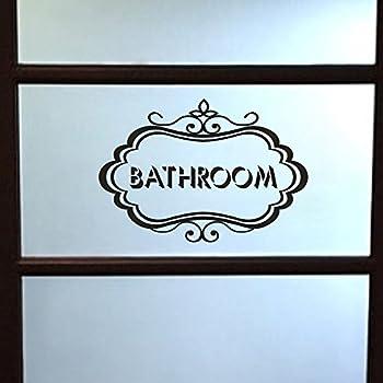 MoharWall Bathroom Door Sign Decal Restroom Glass Sticker Vinyl Wall Art Quotes Decor
