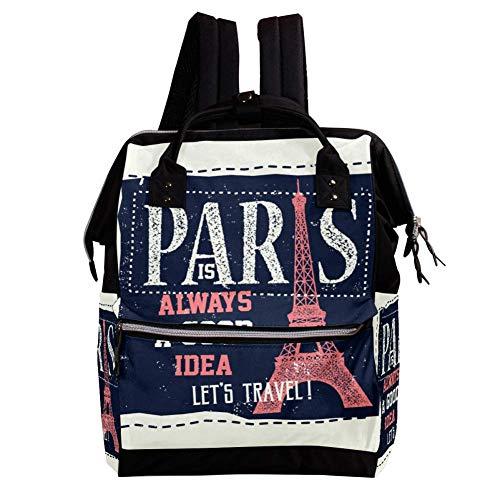 TIZORAX Pariser Eiffelturm-Karten-Wickelrucksack, große Kapazität, Babytasche, Multifunktions-Wickeltasche, Reiserucksack für die Babypflege
