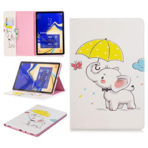 King phone Compatible with Samsung Galaxy Tab S4 SM-T830N/T835N 10.5 inch Premium Vogue Patterns PU Leather Smart Folio Case Shell Wallet Slim Stand Protective Cover - Elephant 1