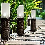 Mtawou 4 Stück Wegbeleuchtun Gartenleuchten Rattan Platz Quadrat Solarleuchten LED Licht Außenleuchte Wasserdichte Solarlampe Pfahl Für Außengarten Patio Rasen