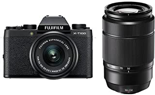 Fujifilm X-T100 Mirrorless Digital Camera, Black with XC15-45mmF3.5-5.6 OIS PZ Lens - with XC 50-230mm (76-350mm) F4.5-6.7 OIS II Lens Black
