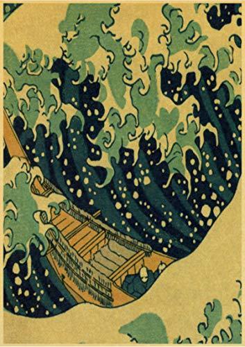 HUYUEXIN Poster di Tela Poster Vintage Stile Giapponese Onda Tradizionale Kanagawa Poster retrò Carta da Parati per Casa/Camera/Bar Decor Pittura 50 * 70 Cm qualità Eccezionale Senza Cornice