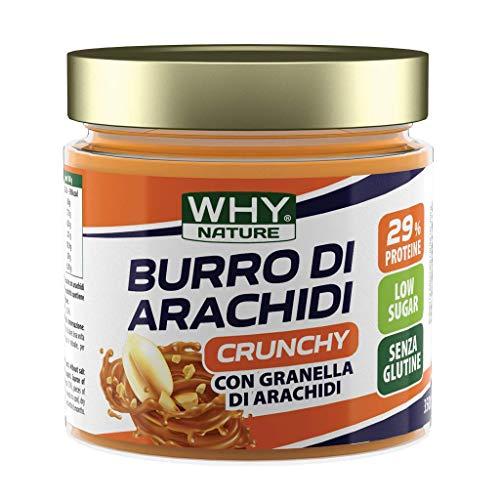 WHY NATURE BURRO DI ARACHIDI 100% NATURALE 350g - PACK DA 4 PEZZI (CRUNCHY - CROCCANTE) FORMATO RISPARMIO + Omaggio- NT INTEGRATORI