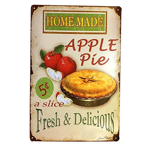 HUABEI Poster Métal Vintage Signe Plaque Affiche Art Décoratif Mural Café Bar Pub (Tarte aux Pommes)