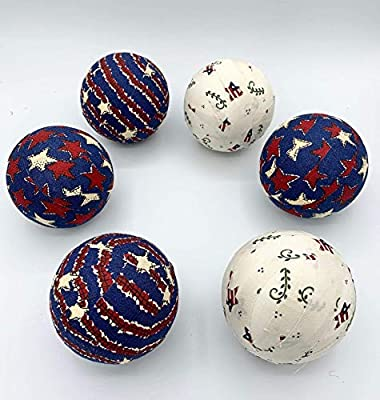 Patriotic Stars/cream Fabric Ball bowl fillers - orbs