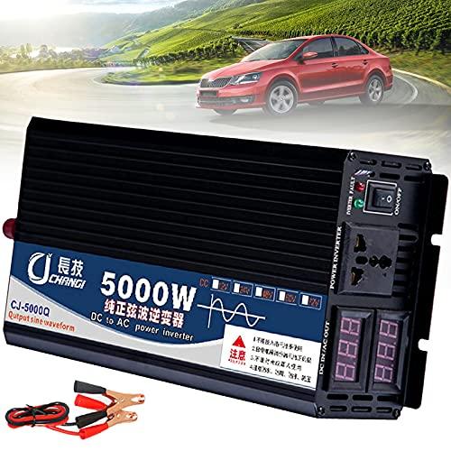 YNITJH 3000W/4000W/5000W inversor de Corriente,Transformador con Tomas & Pantalla Digital Doble,Inversor de Corriente de Onda Sinusoidal Pura,para de Viaje en camión/RV,5000W-60Vto220V