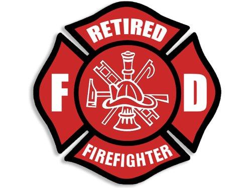 American Vinyl Red Retired Firefighter Maltese Cross Shaped Sticker (fire Fighter Fireman)