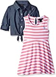 U.S. Polo Assn. Girls' Big Striped Knit Skater Dress with Chambray Shirt-Jack, Pink Lemonade, 8