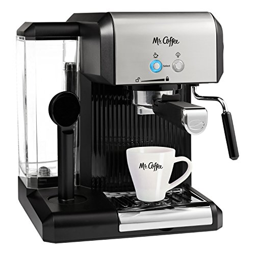 Mr. Coffee Café Steam Automatic Espresso and Cappuccino Machine, Silver/Black