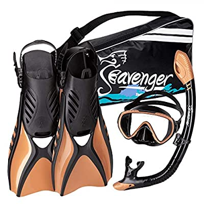 Seavenger Voyager Snorkeling Set | Travel Fins, Snorkel, Mask and Gear Bag for Men and Women (Black Silicone/Copper, Small)