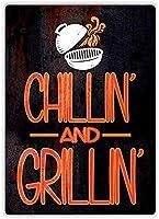 チリンとグリリン金属壁サインレトロプラークポスターヴィンテージ鉄シート絵画装飾吊りアートワーククラフトカフェビールバー