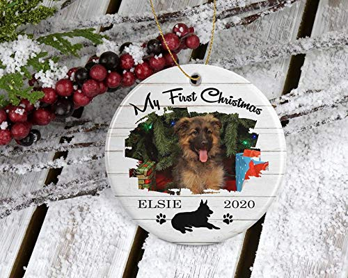 Decorations German Shepherd Puppy Christmas Tree Ornament with Photo Great Gift from Friends for Pet Dog Lover, Holiday Decoration Personalized Decorative Wall Art for Christmas and Holidays