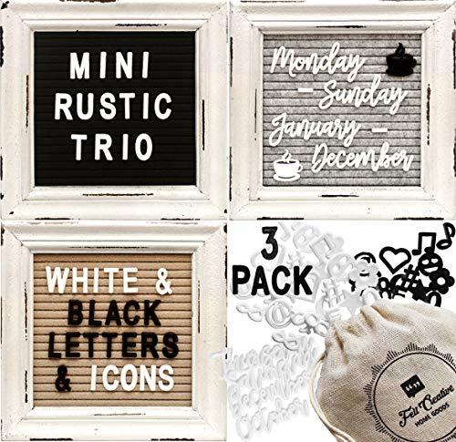 Mini Rustic Felt Letter Board Farmhouse Trio Changeable Message Boards by Felt Creative Home Goods Vintage Style Frames 3 Pack Bundle Black and White Letter Set Cursive Months Days (6x6)