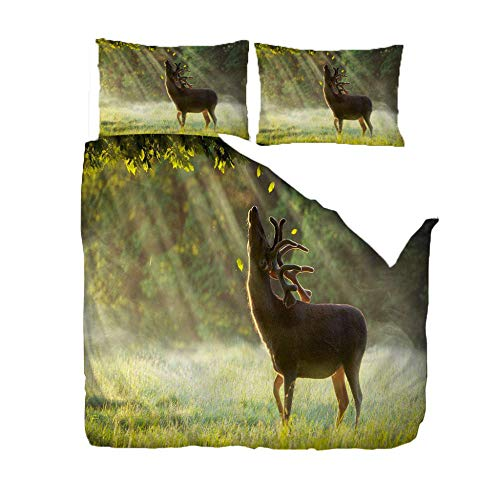 PANDAWDD 3D Duvet Cover Sets Double Size 200x200cm Forest animal elk Pattern Kids Bedding Set Ultra Soft Microfiber Quilt Cover for Boys, Kids and Teens (1 Duvet Cover + 2 Pillowcases)