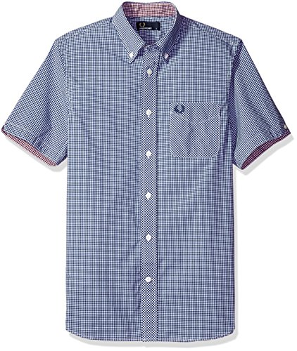 Fred Perry Authentics Classic Gingham Short Sleeved Shirt MEDIEVAL BLUE SMALL
