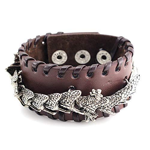 LOYFUN verstellbare Herren-Armbänder, Metall-Dekoration, Vintage-Leder, Herren-Armband, Punk-Stil, Armreif für Kinder, Jungen, Teenager, silberfarben mit schwarzem Valentinstagsgeschenk braun
