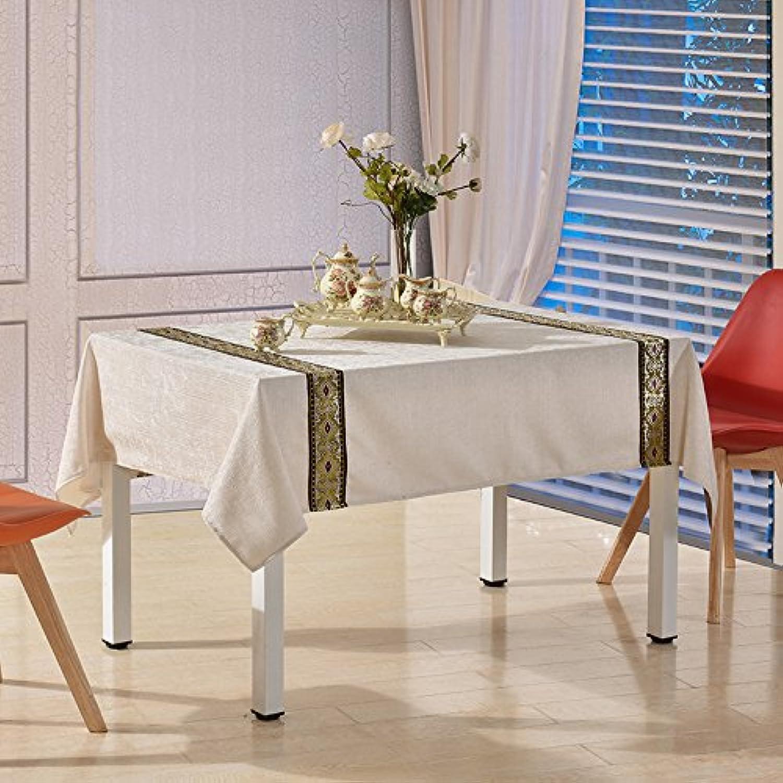 Jhxena Im Nordischen Stil Wohnzimmer Tisch Tuch Dicke Square Stickerei Spitze Tischdecke Tuch, Weiss 140  210 cm. B072R1PRXQ Guter Markt    Modisch