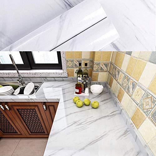 Czemo 40x300cm Marmor Folie Selbstklebend Küche Dekorfolie Wasserdicht Marmorfolie zum Aufkleben Klebefolie für Möbel Schminktisch