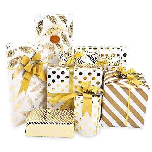 Dsaren 8 Fogli Carta da Regalo Compleanno Pois Stripe Oro Carta Imballaggio Regalo con 1 Rotoli di Nastro Regalo per Capodanno Regali Anniversari Natale Battesimo Carta da Pacchi