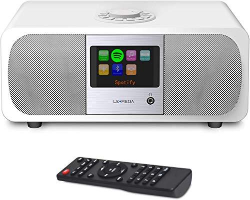 LEMEGA M3P 20 Watt Stereo Internetradio (DAB+/UKW-RDS,Digitalradio mit Bluetooth,Spotify Connect,WLAN,LAN,Subwoofer,Fernbedienung und App,USB,AUX,Radiowecker mit Dual-Alarm,Farbdisplay) - Weiß