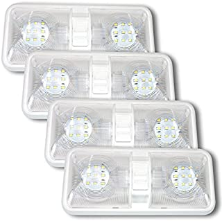 Leisure LED 4 Pack RV LED Ceiling Double Dome Light Fixture with ON/Off Switch Interior Lighting for Car/RV/Trailer/Camper/Boat DC 12V Natural White 4000-4500K 48X2835SMD
