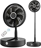 SLENPET 12 Inch Battery Operated Foldaway Fan, Portable Fan with 36Hrs Working Time, 8 Speed, 9Hrs Timer, Oscillating, Remote Control, Cordless Rechargeable Standing Fan for Bedroom, Camping, Outdoor
