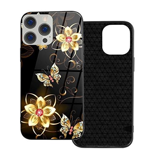 Moda compatible con iPhone 12 serie 12 caso oro flor mariposa para iPhone 12 6.1 pulgadas