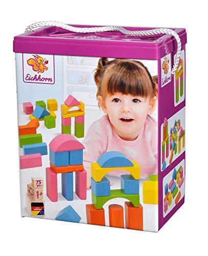 Eichhorn 75 pastellfarbene bunte Holzbausteine in Aufbewahrungsbox und Sortierdeckel, FSC 100{11c5474cc59e5ecfa88715158b32fadbb4c04d4690b05880f5b7d4cee3f1f0eb} zertifiziertes Buchenholz, Motorikspielzeug geeignet für Kinder ab 1 Jahr