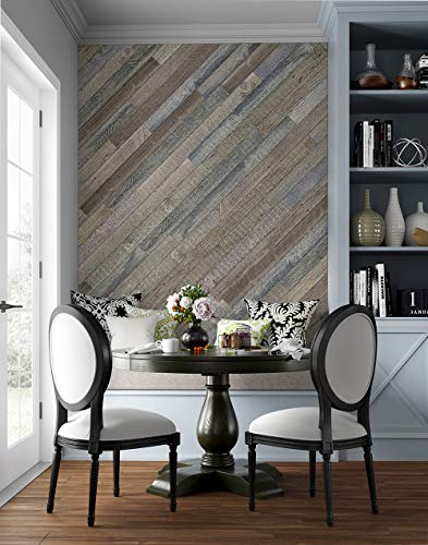 Emerge Peel & Stick Faux Wood Planks for Accent Walls | 10 Sq. Ft. of DIY Reclaimed Wood Planks (8 Planks) | Wall Panels for Interior Wall Décor Rustic Natural
