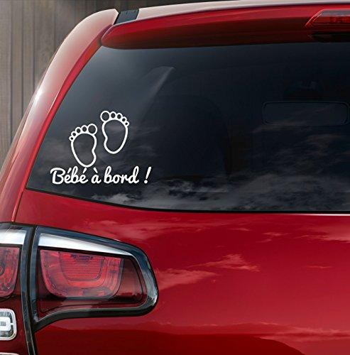 kdosublim Sticker Autocollant Vinyle Bébé à Bord Petits Pieds de Bébé Ref 2 Blanc