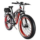 Extrbici Bicicleta EléCtrica 750w / 1500w Fat Tire Actualizado 7 Velocidades Beach Cruiser Bicicleta De MontañA Totalmente Suspendida con BateríA De Iones De Litio Frenos De Disco HidráUlicos