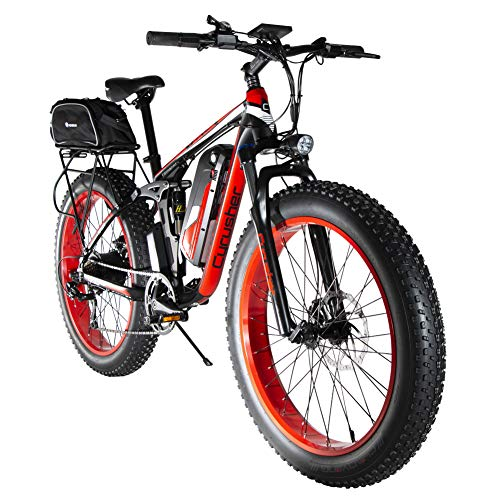 Extrbici 48V 750W Electric Mountain Bike 26inch Fat Tire e-Bike 7 Speeds Beach Cruiser Mens Sports Mountain Bike Full Suspension Lithium Battery Hydraulic Disc Brakes Delivery From UK Warehouse