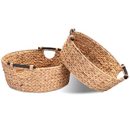Decorasian Juego de 2 cestas de almacenamiento redondas trenzadas de algas marinas con asas de madera – jacinto de agua 47 cm + 42 cm – Cesta grande