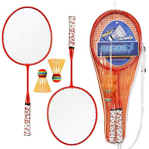 Lixada 1 Paar Badmintonschläger mit Bällen 2 Spieler Badminton Set für Kinder Indoor Outdoor Sport Game