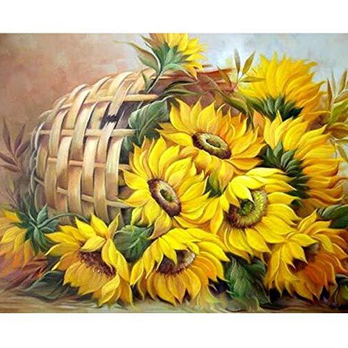 Pintura al óleo digital - Canasta de flores girasol DIY Pintura al óleo adultos, niños y principiantes, usan pinturas y pinceles para artístico regalo - 40x50 cm (Sin Marco)