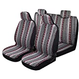 P&J Baja Blanket Car Seat Covers Strips Boho Designs Universal Size Fit for Most Cars SUVs Trucks Vans Woven and Comfortable Fabric Full Set Pack 9pcs Black and Red Color