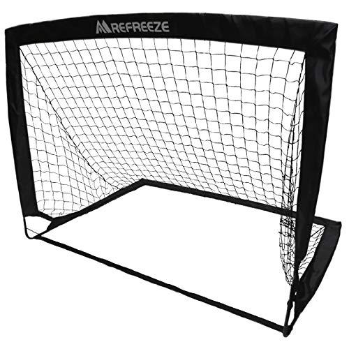 REFREEZE(リフリーズ) 選べる3カラー 折りたたみ ゴール 1個 収納バッグ付き サッカー フットサル 練習 対戦 ポータブル ポップアップ (ブラック)