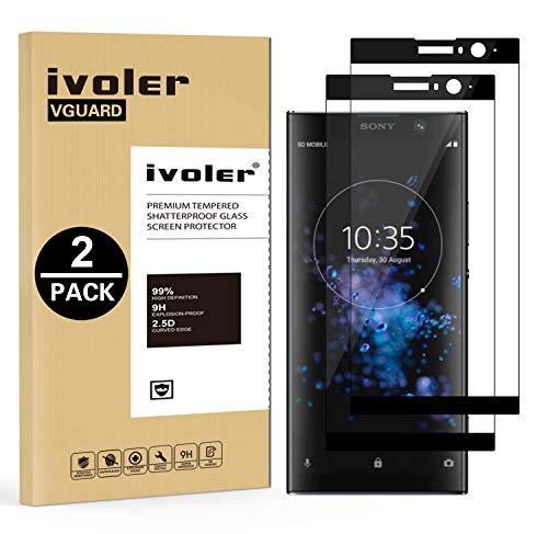 ivoler [2 Stücke] Panzerglas Schutzfolie für Sony Xperia XA2 Plus, [Volle Bedeckung] Panzerglasfolie Folie Hartglas Gehärtetem Glas BildschirmPanzerglas